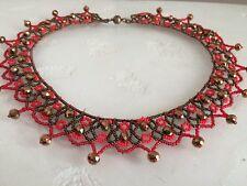 "Czech Glass Beaded Crochet Lace Collar Statement NECKLACE 22"" Red & Bronze"