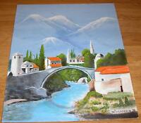 VINTAGE CASTIEL REGION SWITZERLAND VILLAGE ALPS RIVER STREAM LANDSCAPE PAINTING