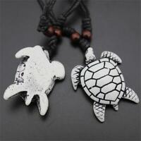 Unisex Carved Turtle Pendant Amulet Imitation Yak Bone Necklace Jewelry