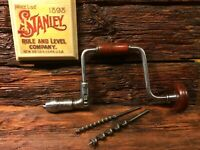 "Vintage Stanley No. 975  10"" Ratcheting Brace Drill with 2 Drill Bits"