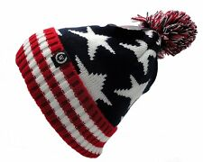 Woman Man USA American Flag warm Beanie hat Winter knit cap Pom Beanie NEW