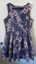 TORRID Blue Purple Mesh Floral Print Pleated Sleeveless Dress ~ Women's Size 18