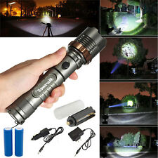 New 5000Lumen LED Flashlight Zoomable Torch Lamp + 2x18650 Battery + Charger