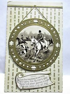 1910 POSTCARD FOX HUNT, HORSES & DOGS - ACROSS THE MEADOWS & OVER HILLS
