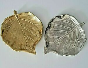 Silver Gold Aluminium Embossed Leaf Shaped Trinket / Dish / Tray 12.5 cm