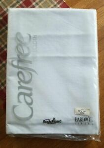"""Bardwil Linens Scotchgard Carefree Tablecloth WHITE 60"""" x 102"""" Oval NEW"""