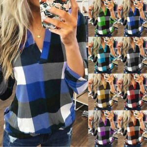 UK Womens Loose Tee Plaid Blouse Long Sleeve Ladies V Neck Shirt Pullover Tops