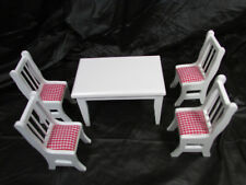 Town Square Miniatures 5 Pc Table Chair Set Red White Cushions T6340 1:12 Scale