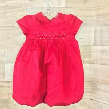 Janie & Jack Girls Silk Holiday Party Smocked Red Size 12-18 Months Bubble Dress