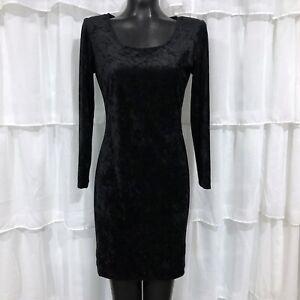 Size 8 Womans MOLLY MALLOY Black Velvet Long Sleeve Bodycon Dress