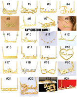 Personlized Sterling Silver Gold Plated Custom ANY NAME Chain Necklace 96 STYLES