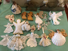 Lot of Misc Angels Handcrafted Originals Ornaments Lace Beaded Mesh Shell Book