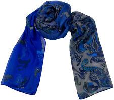 Tracht Schal Blau Grau 100% Seide Trachtenschal Silk Scarf Hirsche Paisley Blue