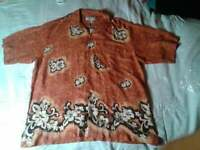 NEW Island Republic Terracotta Hawaiian Shirt Mens L NWT Closet22*