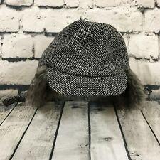 REI Unisex Men's Women's Hat Wool Blend Ear Flaps Black White Gray Fur S/M