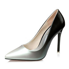 Women Lady Patent Leather Pointed Toe Party Pumps Slim High Heel Stilettos Shoes
