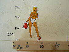 STICKER,DECAL PIN-UP GIRL NUDE CLEANING BEZEM EMMER  NOT 100 % OK