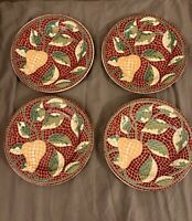 Set of Four (4) PIER 1 China MOSAIC FRUIT pattern Salad/Dessert Plates-8in