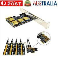 New 4 Ports PCIe Riser Adapter Board PCI-E 1x to 4 USB 3.0 PCI-E -Rabbet GPU AU