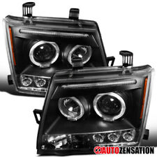 For 2005-2012 Nissan Xterra Black LED Halo Rim Projector Headlights Lamps Pair