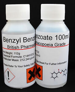 100ml Benzyl Benzoate 99.9% Pharmaceutcial Grade
