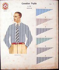 CARTONCINO PUBBLICITARIO CANADIAN POPLIN 1935 FASCISMO AUTARCHIA CAMICIA ABBIGLI