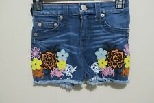 True Religion High Waisted Floral Shorts Girls Size 7 Pebble Wash