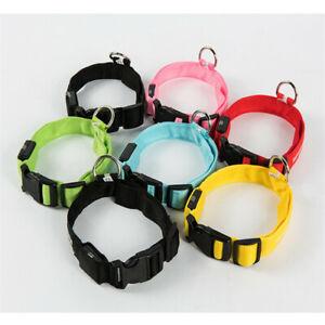 USB Rechargable LED Dog Pet Collar Flashing Luminous Safety Light Up Nylon Soft