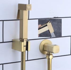 Bath Brass Brushed Gold Handheld Bidet Spray Shattaf Wall Bracket Hose Valve Kit