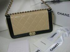 Authentic Chanel Bio Color Black Beige Lambskin Leather CC Logo Boy Bag Clutch