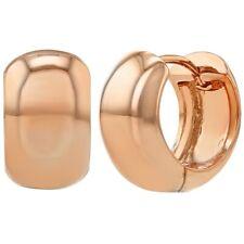 Rose Gold Plated Classic Plain Wide Huggie Hoop Womens Earrings 12mm