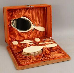 Antique French Victorian Celluloid Ladies Vanity Dresser Set Mirror Velvet Box