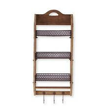 Brown Wood Wall unit with 3 wire shelves and Hooks