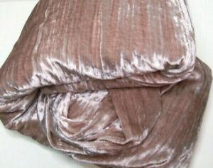 West Elm Grayish Rose Pink Luster Shinning Crinkle Velvet Full Queen Duvet Cover