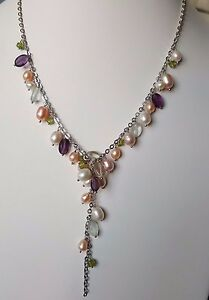 Beautiful 925 sterling silver Freshwater pearl necklace w/ amethyst and peridot
