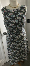 Lovely East UK 14 Grey Daisy Floral Sleeveless Linen Dress Part Lined Tie Belt