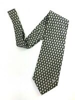 Gianni Versace Classic V2 Silk Neck Tie Geometrical Pattern Black Gray #5573