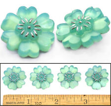 22mm Vintage Czech GREEN OPAL Realistic Violet Daisy Flower Glass Buttons 4pc