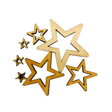 50 Assorted Unfinished Hollow Stars Wooden Shape Embellishment for DIY Craft