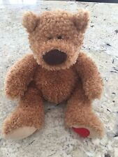 "Cute 12"" Golden Brown Bear Stuffed Animal Plush - Heart on Foot - Amscan"