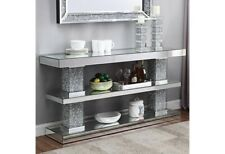Crushed Diamond Mirrored Console Table TV unit Multiple Purpose 2 Tier Display