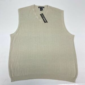 NWT John Henry Knit Sweater Vest Men's Large Sleeveless Tan V Neck Acrylic Blend