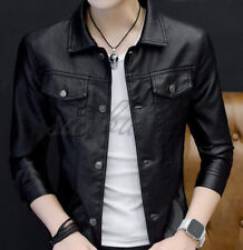 Mens Cool Short Thin Leather Jackets Lapel Buckle Closed Casual Coats Autumn New