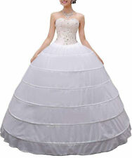 Wedding Petticoat Crinoline 6 Hoop Skirt White Women Long Ball Gown Underskirt