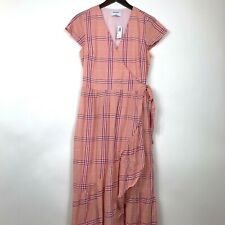 Old Navy Women Size Small Tall Dress Plaid Melon Short Sleeve Wrap V-Neck Ruffle