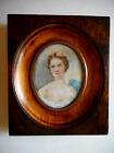 Grande miniature.Portrait d'une Jeune femme .Peinture a l'huile.XIX°.