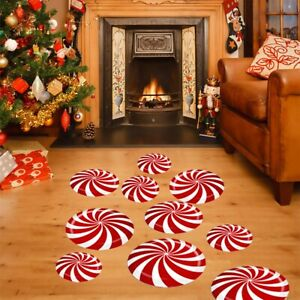 12Pcs Floor Wall Stickers Removable Red Candy Mural Decals Christmas Decor AU