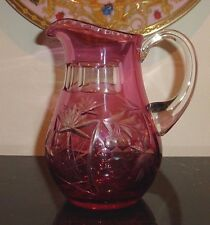 AJKA MARSALA RUBY RED CUT TO CLEAR CASED CRYSTAL JUICE BEVERAGE PITCHER 22 OZ
