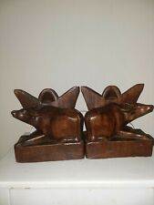 Pair Of Hand Carved Wood Water Buffalo Figurine Bookends