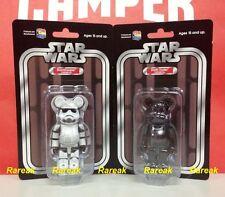 Medicom Be@rbrick Star Wars 100% Stormtrooper & Darth Vader Chrome Bearbrick 2pc